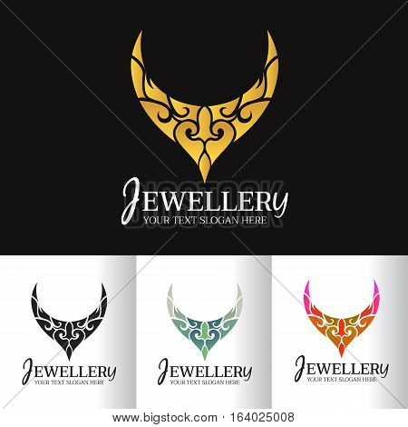 Jewellery necklace abstract logo vector art design