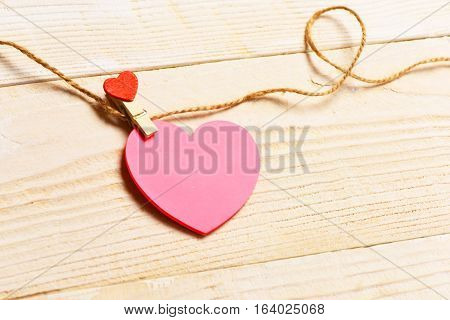 Pink Valentine Heart Hanging On Clothesline