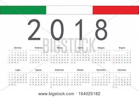 Simple rectangular Italian 2018 year vector calendar. Week starts from Sunday.