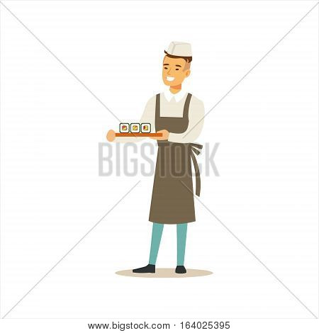 Man Professional Cooking Sushi Chef Working In Japanese Restaurant Wearing Classic Traditional Uniform Cartoon Character Illustration