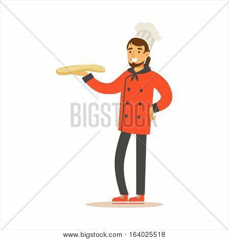 Man Professional Cooking Chef Working In Restaurant Wearing Classic Traditional Uniform WIth Pizza Dough Cartoon Character Illustration