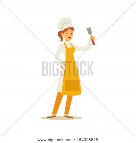 Woman Professional Cooking Chef Working In Restaurant Wearing Classic Traditional Uniform With Spatula Cartoon Character Illustration