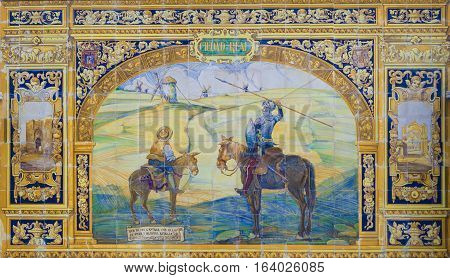 Seville, Spain - January 2, 2017: Glazed tiles wall of spanish province of Ciudad Real at Plaza de Espana Seville Spain