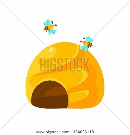 Ground Yellow Beehive And Bees, Natural Honey Production Related Carton Illustration. Primitive Vector Drawing With Beekeeping Associated Object Isolated On White Background.