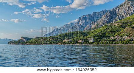 Beautiful nature of Tucepi touristic town on the Adriatic Sea coast, Croatia.