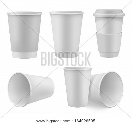 Realistic paper coffee cup mock up set isolated on white background vector illustration. Blank white 3d model takeaway disposable coffee cup with cap. Template collection for branding