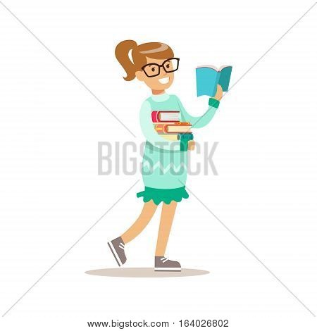 Girl In Glasses Who Loves To Read, Illustration With Kid Enjoying Reading An Open Book. Teenager Bookworm Cartoon Vector Character Smiling And Enjoying His Pastime And Hobby.
