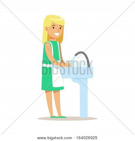 Girl Washing Dishes Smiling Cartoon Kid Character Helping With Housekeeping And Doing House Cleanup. Vector Illustration From Children Home Cleaning And Tiding Series.