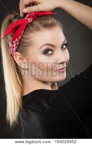 Portrait Of Retro Pin Up Girl In Red Handkerchief.