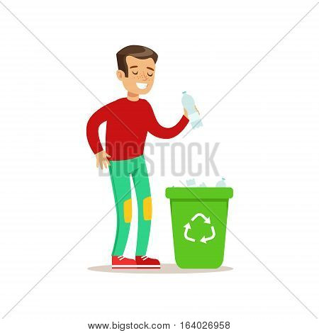 Boy Throwing Plastic Waste In Recycling Garbage Bin Smiling Cartoon Kid Character Helping With Housekeeping And Doing House Cleanup. Vector Illustration From Children Home Cleaning And Tiding Series.
