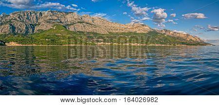 Panoramic view of the beautiful nature of Tucepi touristic town on the Adriatic Sea coast, Croatia.
