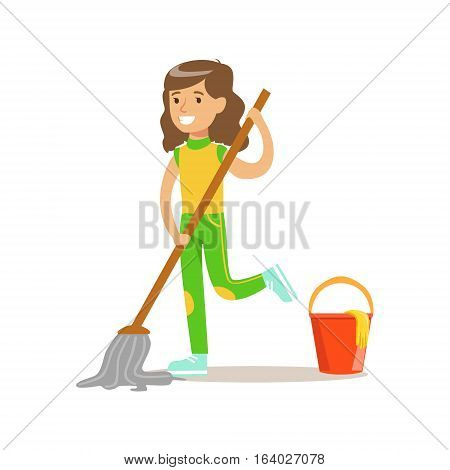 Girl Washing The Floor With Mop And Water Smiling Cartoon Kid Character Helping With Housekeeping And Doing House Cleanup. Vector Illustration From Children Home Cleaning And Tiding Series.