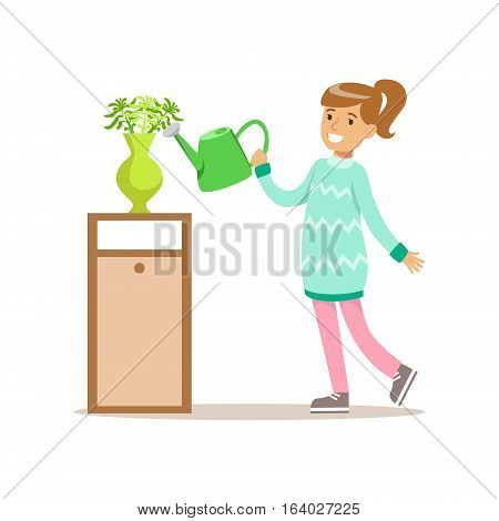 Girl Watering Home Plants Smiling Cartoon Kid Character Helping With Housekeeping And Doing House Cleanup. Vector Illustration From Children Home Cleaning And Tiding Series.