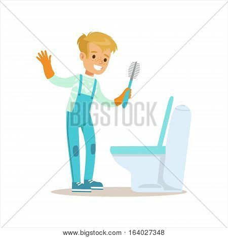 Boy In Gloves Cleaning Toilet With Brush Smiling Cartoon Kid Character Helping With Housekeeping And Doing House Cleanup. Vector Illustration From Children Home Cleaning And Tiding Series.