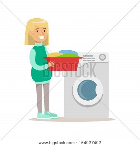 Girl Loading Washing Machine With Clothes Smiling Cartoon Kid Character Helping With Housekeeping And Doing House Cleanup. Vector Illustration From Children Home Cleaning And Tiding Series.