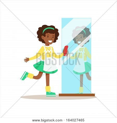 Girl Polishing The Mirror Smiling Cartoon Kid Character Helping With Housekeeping And Doing House Cleanup. Vector Illustration From Children Home Cleaning And Tiding Series.