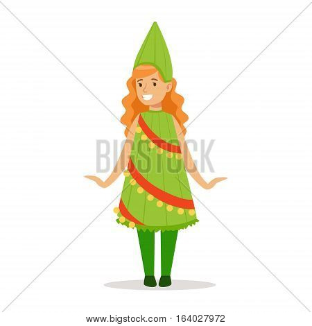 Girl In Christmas Tree Outfit Dressed As Winter Holidays Symbol For The Costume Christmas Carnival Party. Happy Kid In Holyday Disguises Vector Cartoon Illustration.