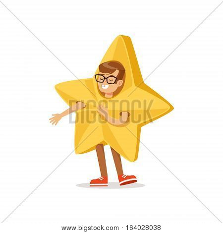 Boy In Golden Star Outfit Dressed As Winter Holidays Symbol For The Costume Christmas Carnival Party. Happy Kid In Holyday Disguises Vector Cartoon Illustration.