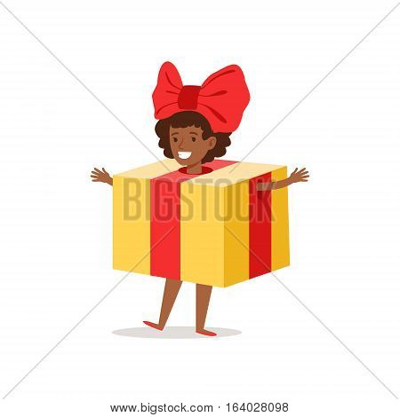 Girl In Present Outfit Dressed As Winter Holidays Symbol For The Costume Christmas Carnival Party. Happy Kid In Holyday Disguises Vector Cartoon Illustration.