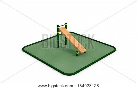 Athletic wood bench for press on the white background