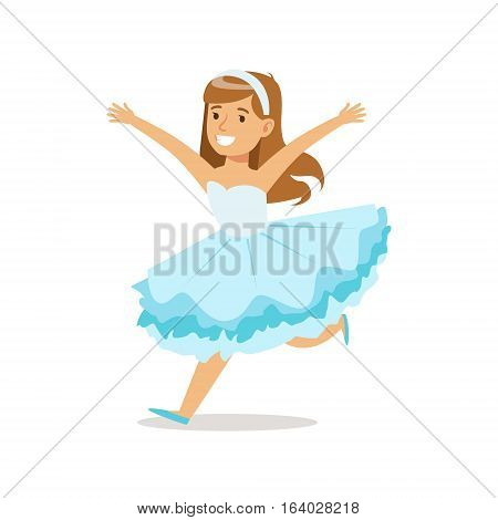 Girl In Snowflake Outfit Dressed As Winter Holidays Symbol For The Costume Christmas Carnival Party. Happy Kid In Holyday Disguises Vector Cartoon Illustration.