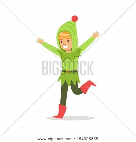 Boy In Green Hood Dressed As Santa Claus Christmas Elf For The Costume Holiday Carnival Party. Happy Kid In Holyday Disguises Vector Cartoon Illustration.