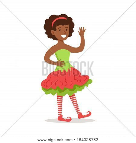 Girl With Afro Hairdo Dressed As Santa Claus Christmas Elf For The Costume Holiday Carnival Party. Happy Kid In Holyday Disguises Vector Cartoon Illustration.