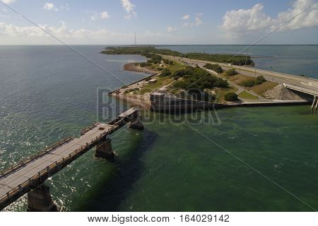 Aerial photo of scenic Florida Keys and the Overseas Highway