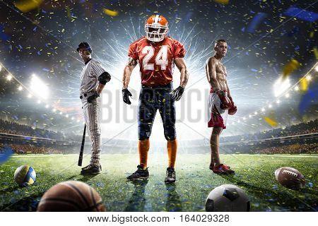 Boxing football baseball players on grand arena