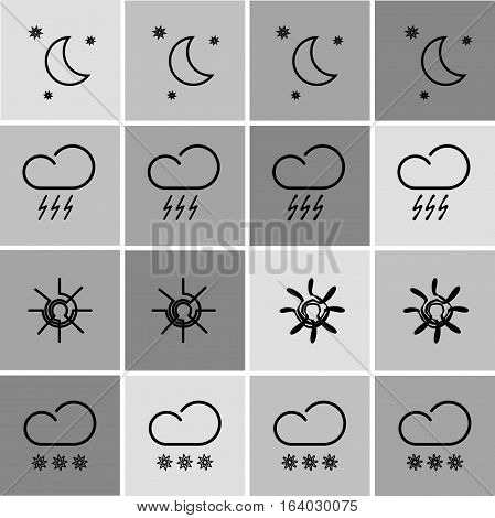 set with different weather icons in different color