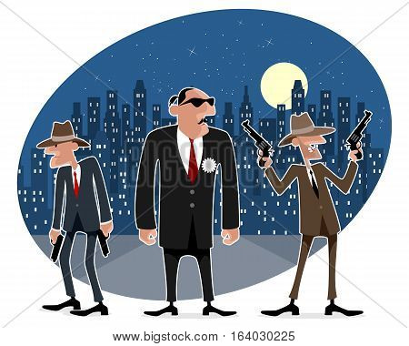 Vector illustration of a three funny gangsters
