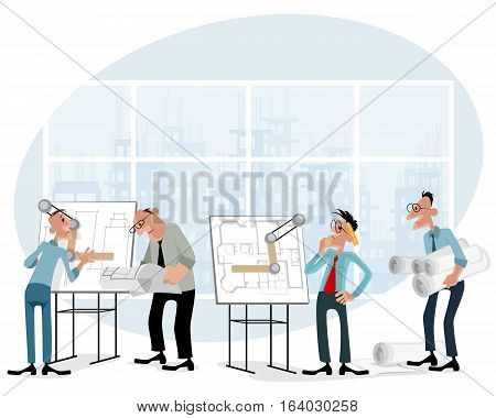 Vector illustration of a architects in office