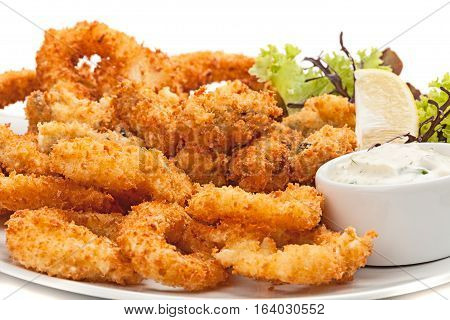 Plate of fried in batter squid with sauce.Selective focus.