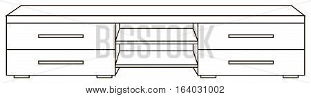 Vector illustration of modern and wooden bureau