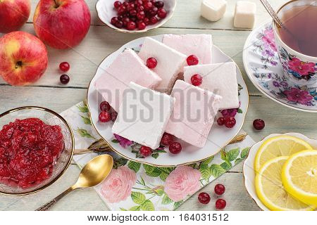 The tea party with pink and white lucum jam and lemon