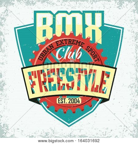 Vintage t-shirt graphic design,  grange print stamp, bmx freestyle typography emblem,  criative sports logo, Vector