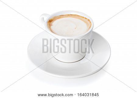 A cup of espresso coffee with foam isolated on white background