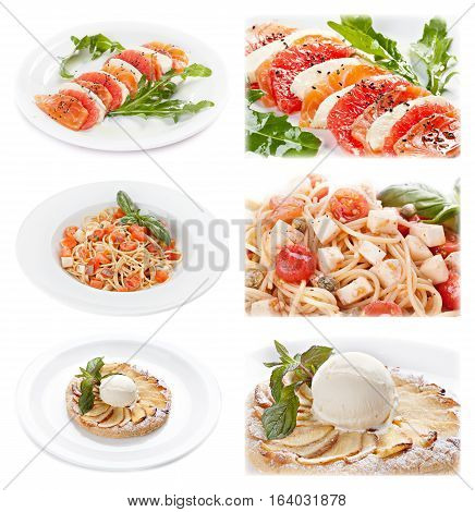 Set of tasty italian food isolated on white background. Distant and close-up : salmon and cheese appetizer; pasta with tomato and cheese; apple piel with ice cream.