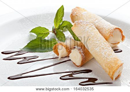 Cannoli. Sicilian pastry desserts  on white background.