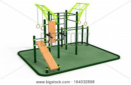 Parallel green bars with wood bench for press and ropes with rings at sports ground for workout on the white background