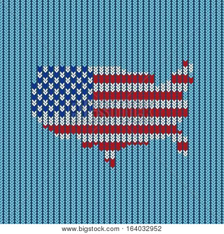 Pattern knitted. American flag. Vector. Reminiscent of the knitted fabric.