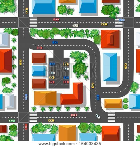 Top view of the plan city. Seamless repeating pattern. Urban streets and houses roofs and trees.