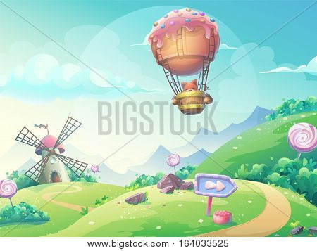 Vector illustration of a landscape with marmalade candy mill and fox in blimp. For print create videos or web graphic design user interface card poster.