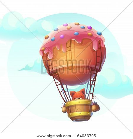 Vector illustration fox in blimp. For print create videos or web graphic design user interface card poster.