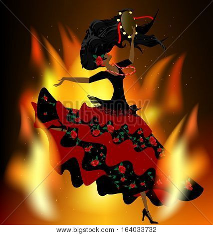 dark background with flame and abstract dancing romany girl in red-black