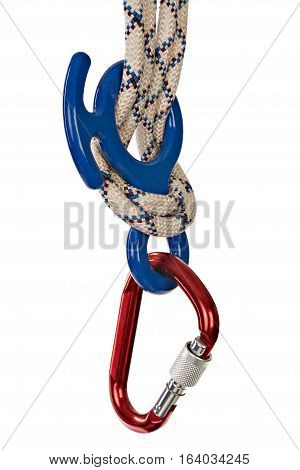 Climbing gear - carabiners and rope. Isolated on white background. Selective focus.