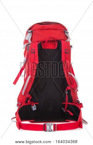 Red Hiking Backpack isolated on white background