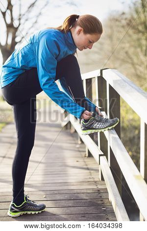 Woman Getting Ready For A Run