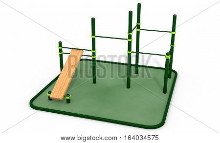 Parallel green bars with bench for press at sports ground for workout on the white background