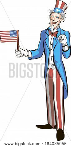 uncle sam in full growth hold small american flag and pointing  at you. Cartoon vector illustration